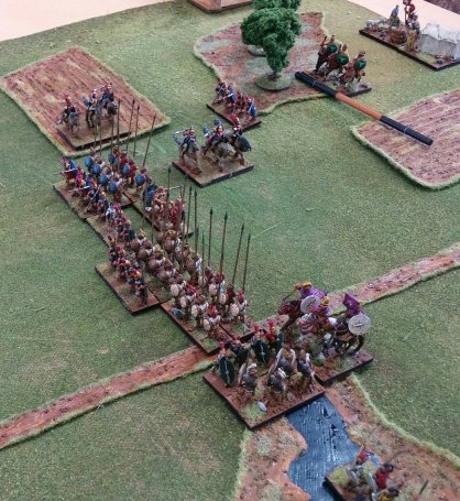 The situation at the end; the Macedonian right flank is lucky not to have broken after their light horse fled, but the centre has triumphed.